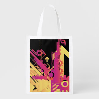 Technical halftone background 7 reusable grocery bag