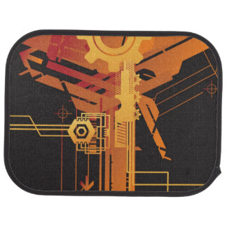 Technical halftone background car mat