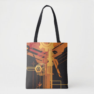 Technical halftone background tote bag