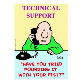 technical support pounding fist postcard