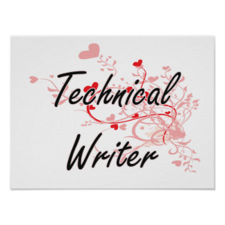 Technical Writer Artistic Job Design with Hearts Poster