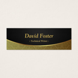Technical Writer - Black Gold Damask Mini Business Card