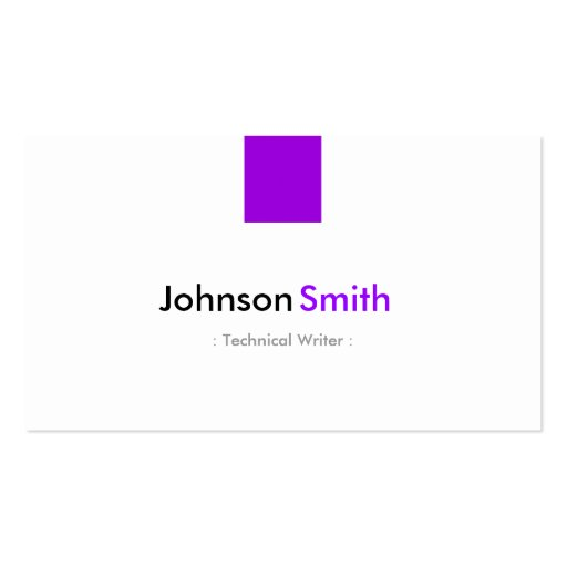 Technical Writer - Simple Purple Violet Business Cards