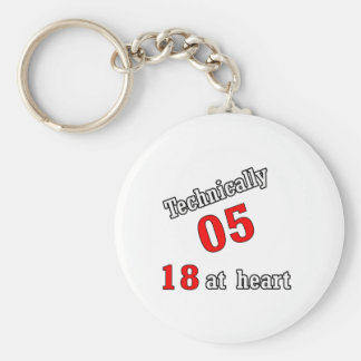 Technically 05, 18 at heart basic round button keychain