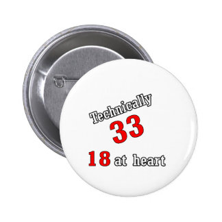 Technically 33, 18 at heart pinback button