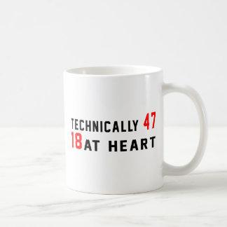 Technically 47, 18 at heart classic white coffee mug