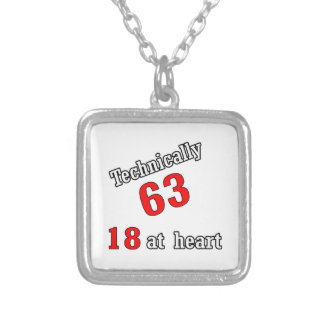 Technically 63, 18 at heart square pendant necklace