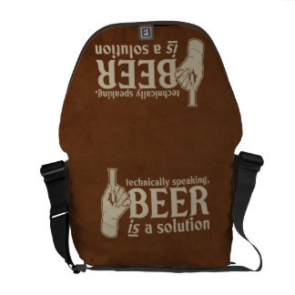 technically speaking, beer is a solution courier bag