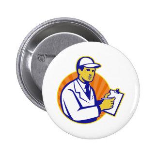 Technician Inspector Worker Clipboard Retro Pinback Buttons