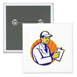 Technician Inspector Worker Clipboard Retro Pins