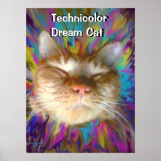 Technicolor Dream Cat Poster