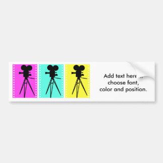 Technicolor Film Strip and Camera Silhouette Car Bumper Sticker