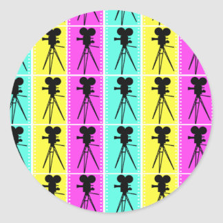 Technicolor Film Strip and Camera Silhouette Classic Round Sticker