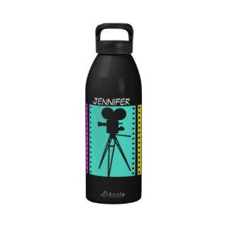 Technicolor Film Strip Retro Silhouette Design Water Bottles