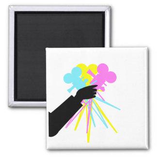 Technicolor Love Bouquet 2 Inch Square Magnet