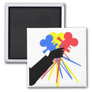 Technicolor Love Bouquet Primary Colors 2 Inch Square Magnet