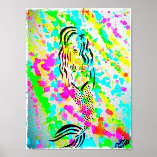 Technicolor Mermaid by Kara Willis Poster
