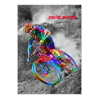 Technicolor Mountain Biker Racing Down a Trail Card