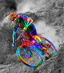 Technicolor Mountain Biker Racing Down A Trail Shower Curtain