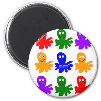 Technicolor Octopus 2 Inch Round Magnet