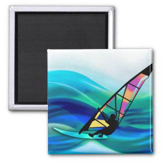 Technicolor Windsurfer 2 Inch Square Magnet
