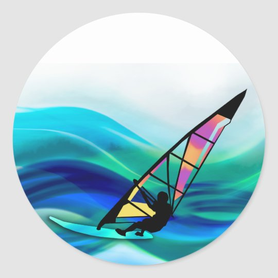 Technicolor Windsurfer in a Typhoon Classic Round Sticker