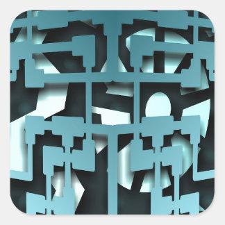 Techno 3D view Gear Square Sticker