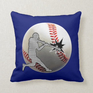 Techno Baseball Player Hitting Baseball Pillows