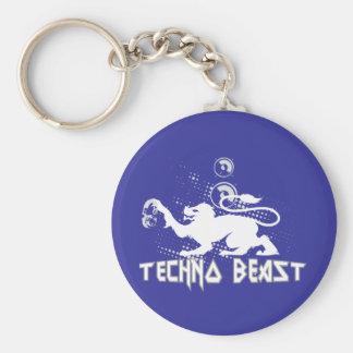 Techno Beast Basic Round Button Keychain