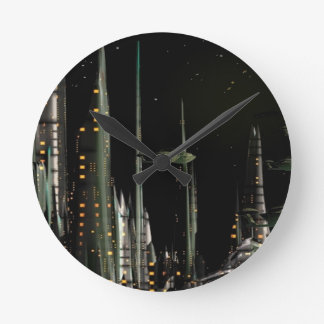 Techno City Round Clock