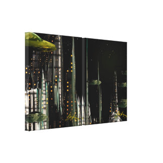 Techno City Stretched Canvas Prints