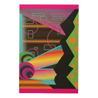 Techno Cosmic Rainbow Galaxy 24x36 Wood Wall Art