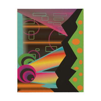 Techno Cosmic Rainbow Galaxy 8x10 Wood Wall Art