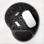 "Techno Cube Gel Mouse Pad<br><div class=""desc"">A cube with digital pathways in black and white.</div>"