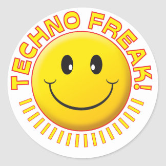 Techno Freak Smile Classic Round Sticker