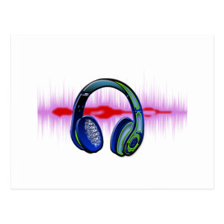 Techno Headphones Postcard