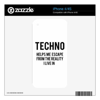 Techno helps me escape from the reality i live in iPhone 4 decals