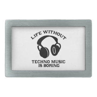 Techno Music designs Rectangular Belt Buckle