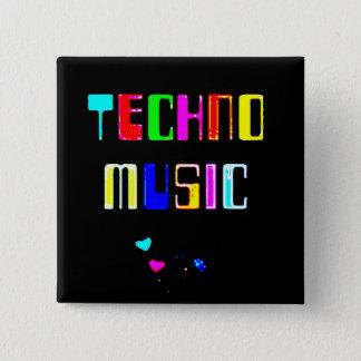 Techno Music heart Pinback Button