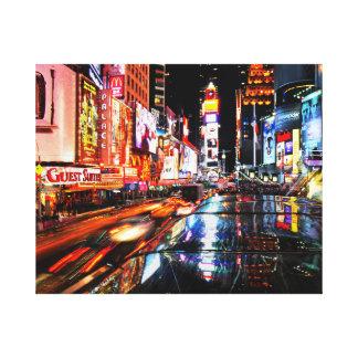 Techno NewYork City Scene, vibrant canvas wall art Stretched Canvas Print