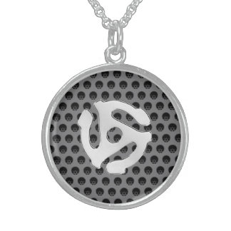 Techno Retro Vintage Chrome 45 spacer DJ Print Sterling Silver Necklace