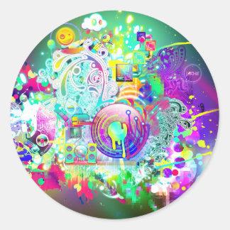Techno Round Sticker