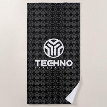 Beach Themed Techno Streetwear - Logo - Beach Towel