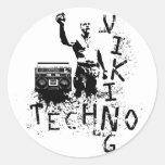 Techno Viking Pegatina Redonda
