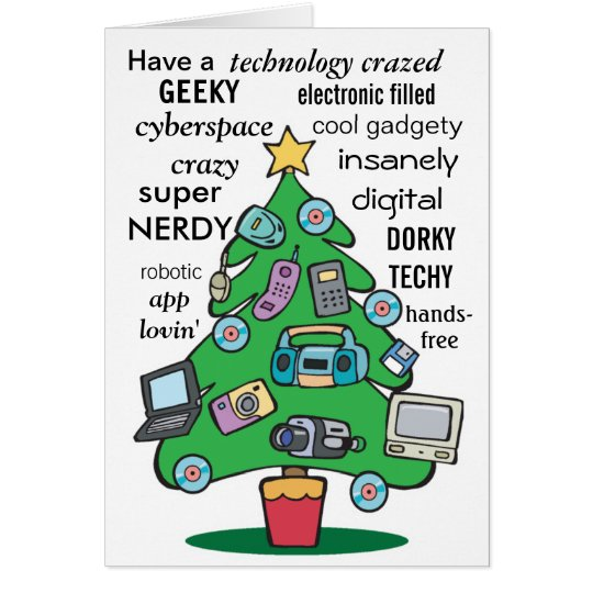 technology digital geeky christmas card