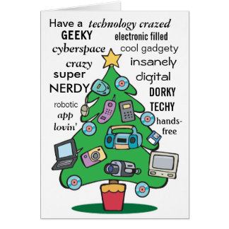 technology digital geeky christmas greeting card