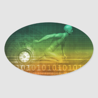 Technology Evolution with Man Evolving with System Oval Sticker