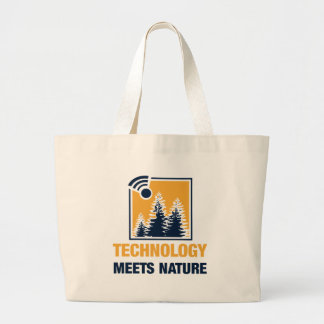 Technology Meets Nature Large Tote Bag