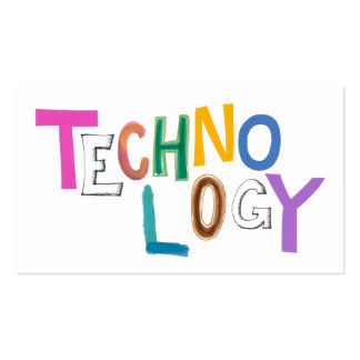 Technology modern word art tech geek fun colorful business card