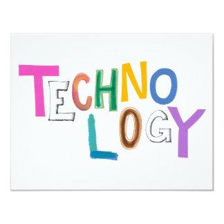 Technology modern word art tech geek fun colorful card